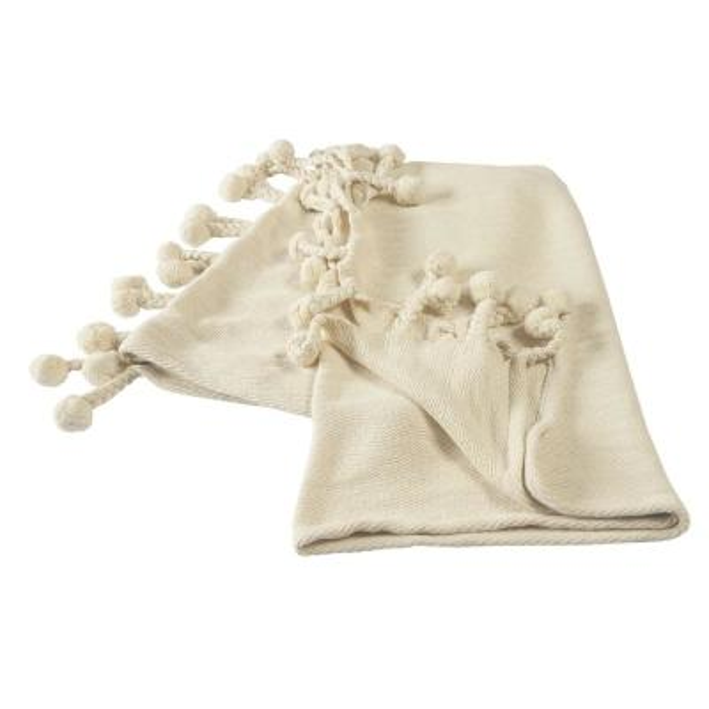 Embroidery Braided Cream Chevron Herringbone Cotton Throw Blanket