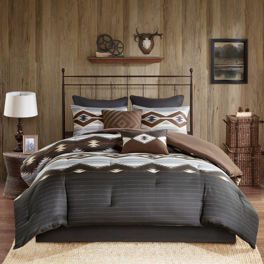 Bitter 8-Piece Grey/Brown California King Comforter Set