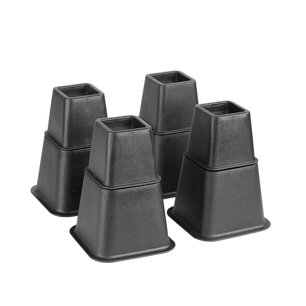 Simplify Adjustable 8-Piece Black Bed Risers Set