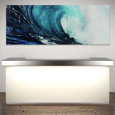 "24 in. x 63 in. ""Blue Wave 2"" Frameless Free Floating Tempered Glass Panel Graphic Wall Art"