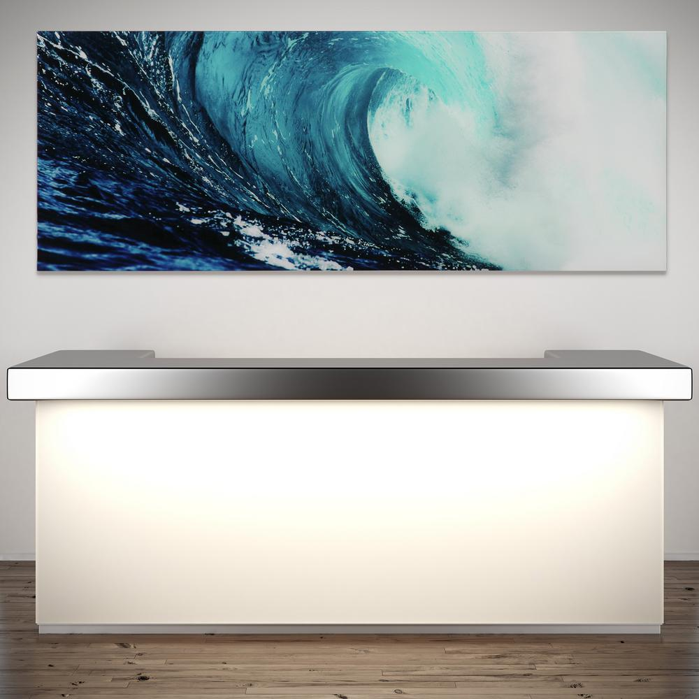 24 in. x 63 in. ''Blue Wave 2'' Frameless Free Floating Tempered Glass Panel Graphic Wall Art