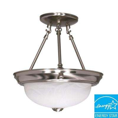2-Light Brushed Nickel Dome Semi-Flush Mount Light