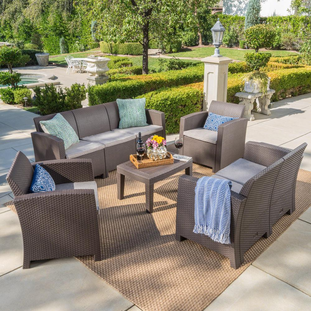 Noble House 5-Piece Wicker Patio Conversation Set with Mixed Beige Cushions