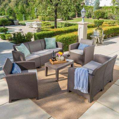 5-Piece Wicker Patio Conversation Set with Mixed Beige Cushions