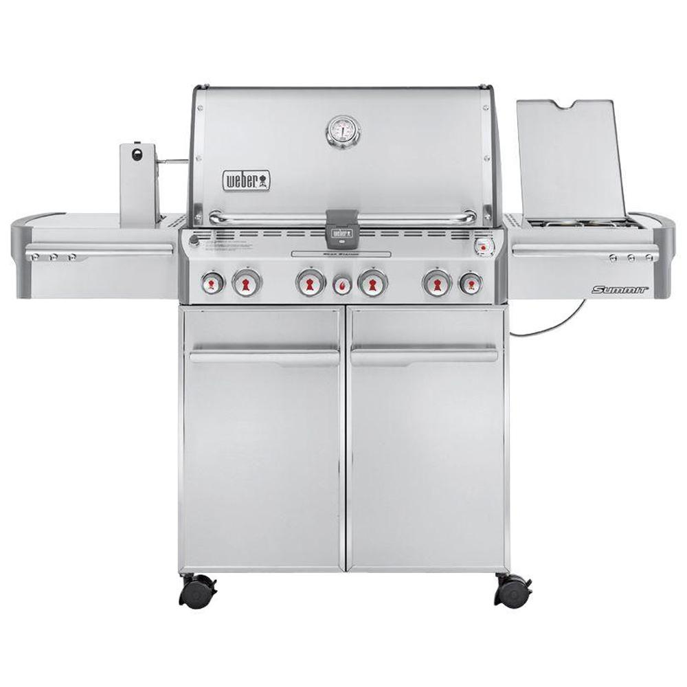 Weber Summit S-470 4-Burner Propane Gas Grill in Stainless Steel with Built-In Thermometer and Rotisserie