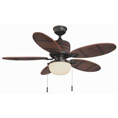 Tahiti Breeze 52 in. LED Indoor/Outdoor Natural Iron Ceiling Fan with Mahogany Bamboo Accents