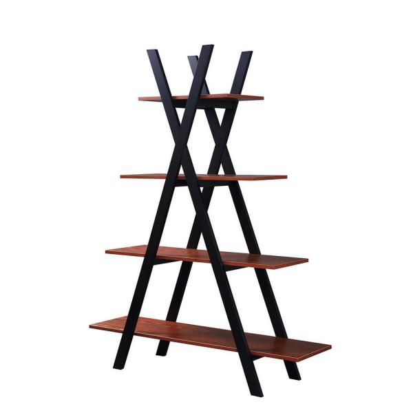 59 in. Cherry/Black Wood 4-shelf Ladder Bookcase with Open Back