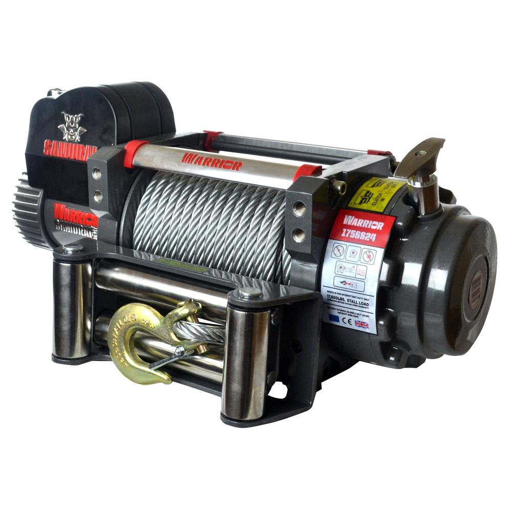 Warrior Winch Wiring Diagram Detail K2 Samurai Series 17500 Lb Capacity 12 Volt Electric With 85 Ft