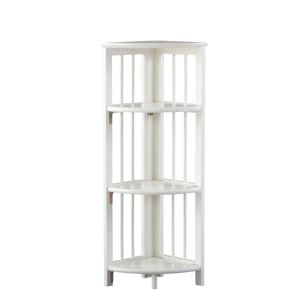 White Folding Corner Open Bookcase