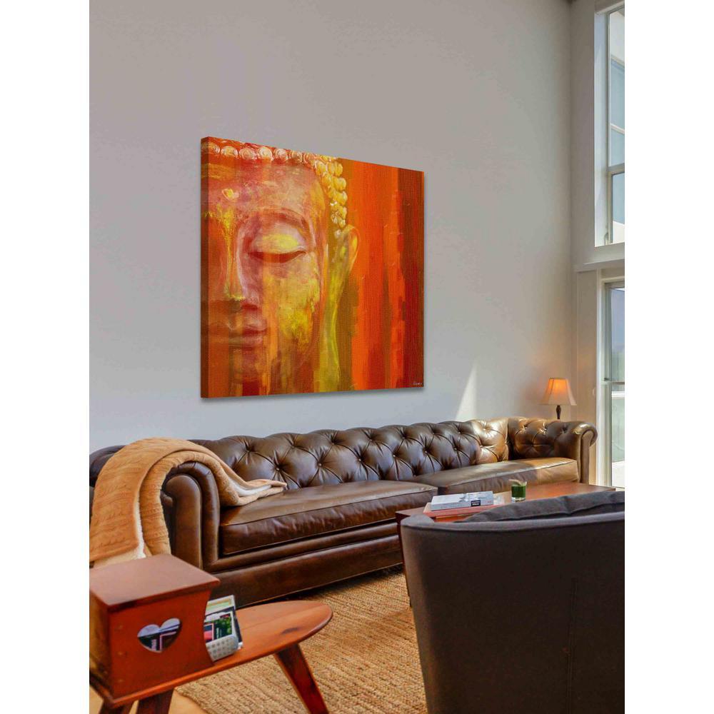 """18 in. H x 18 in. W """"Buddha"""" by Parvez Taj Printed Canvas Wall Art"""
