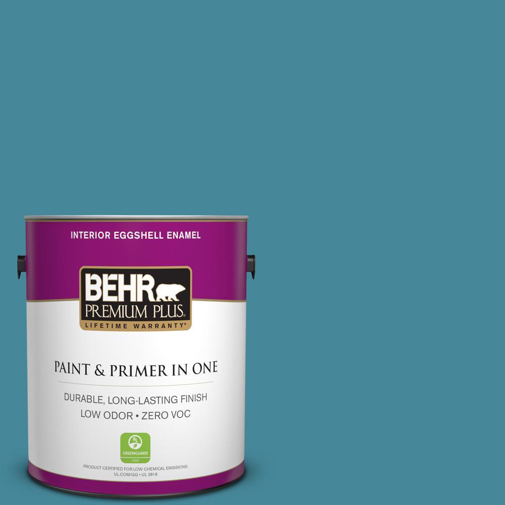BEHR Premium Plus 1-gal. #S460-5 Blue Square Eggshell Enamel Interior Paint