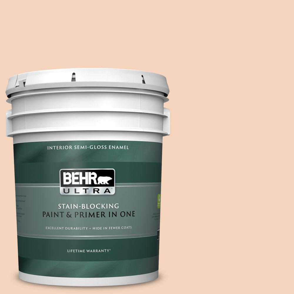 Behr Ultra 5 Gal Bxc 37 Miami Stucco Semi Gloss Enamel Interior Paint And Primer In One 375005 The Home Depot