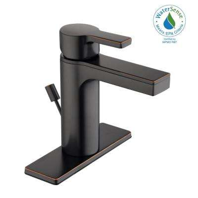 Modern Contemporary Single Hole Single-Handle Low-Arc Bathroom Faucet in Bronze