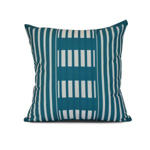16 inch Beach Blanket Stripe Print Pillow in Teal by