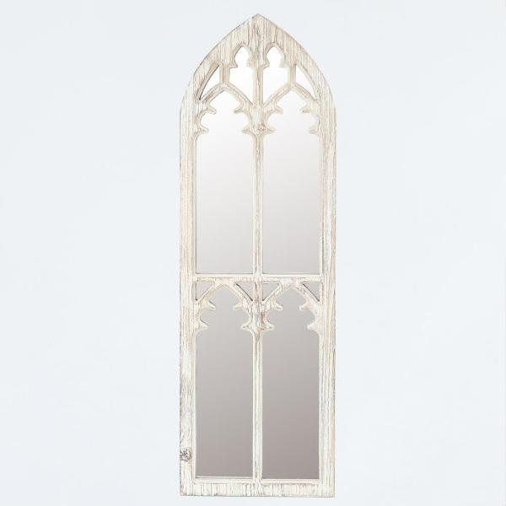 Medium Arch Wood Hooks Modern Mirror (38 in. H x 12.2 in. W)