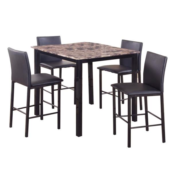 Benjara 5 Piece Black And Brown Counter Height Dinette Bm157888 The Home Depot