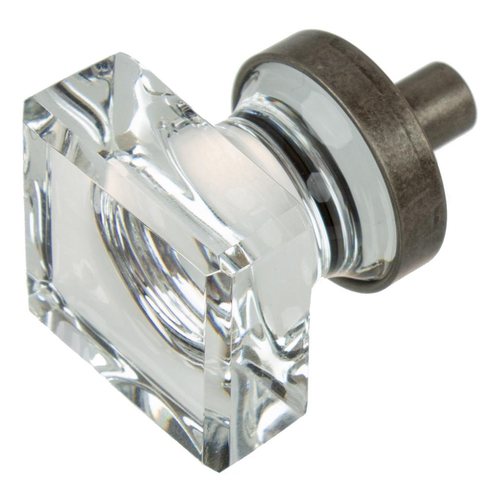 Great Aged Pewter Square Glass Cabinet Knob (10 Pack)