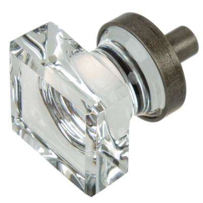 1 in. Aged Pewter Square Glass Cabinet Knob (10-Pack)