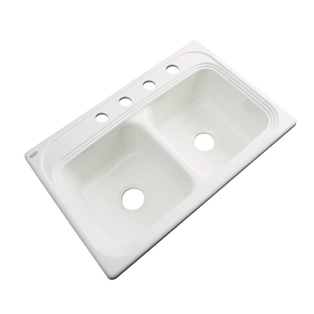 Thermocast Chesapeake Drop-In Acrylic 33 in. 4-Hole Double Basin Kitchen Sink in Biscuit