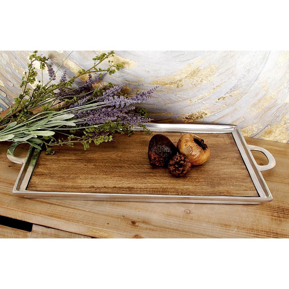 Rustic Aluminum and Wood Rectangular Tray