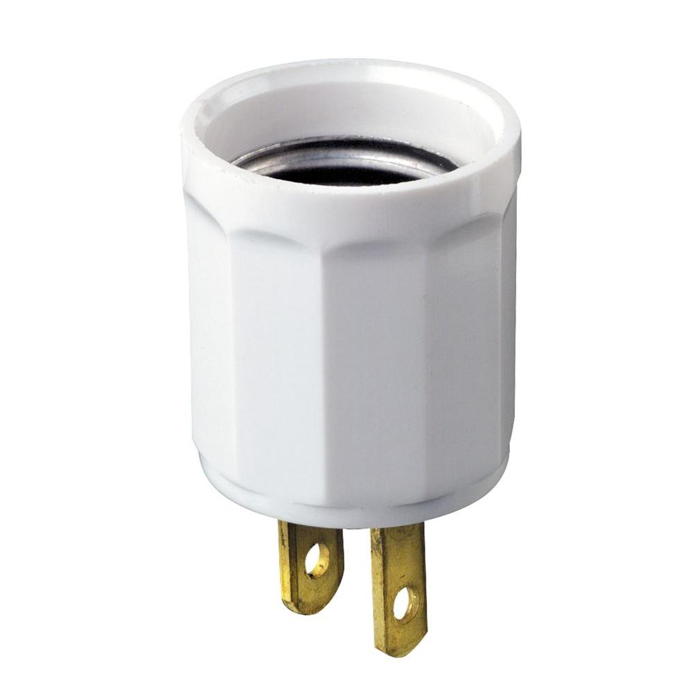 Leviton Outlet-to-Socket Light Plug, White-R52-00061-00W - The Home ...