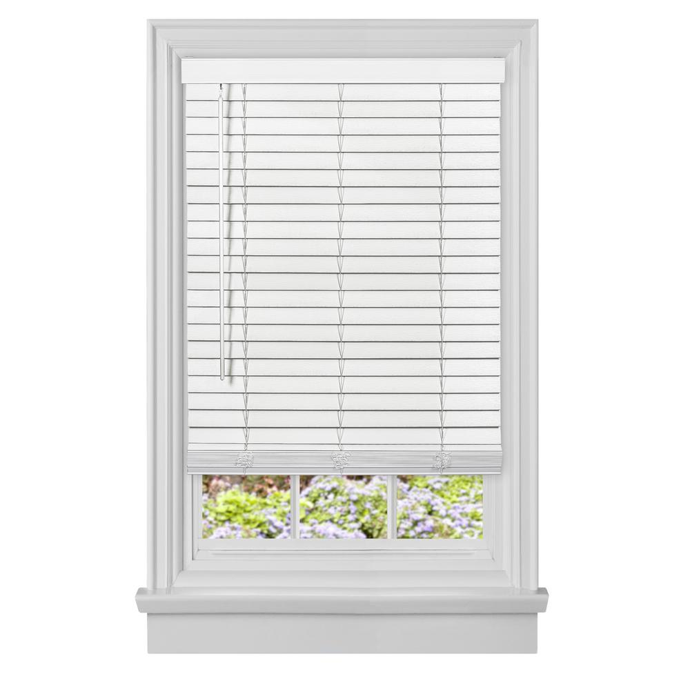 Achim Gii Madera Falsa White Cordless Room Darkening Faux Wood Blind With 2 In Slats 23 In W X 64 In L Mfg223wh02 The Home Depot