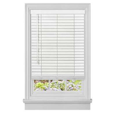 Cut-to-Width GII Madera Falsa White 2 in. Cordless Faux Wood Plantation Blind - 43 in. W x 64 in. L