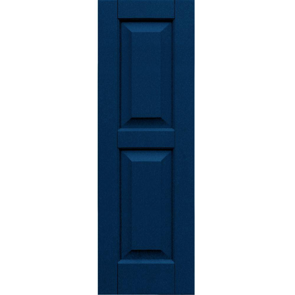Winworks Wood Composite 12 in. x 37 in. Raised Panel Shutters Pair #637 Deep Sea Blue