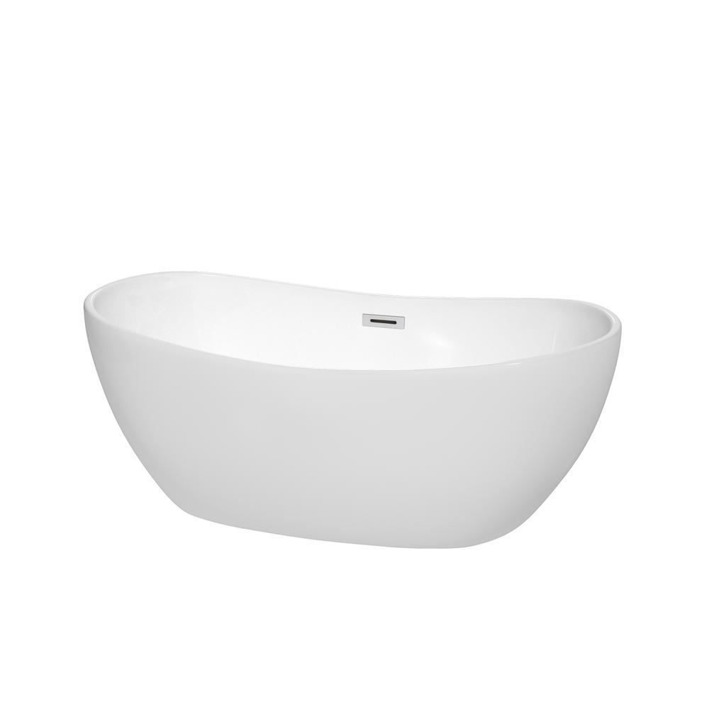 Wyndham Collection Soho 60 inch Freestanding Bathtub in White with Brushed Nickel Drain and Overflow Trim