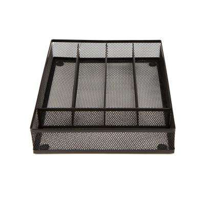 Black Mesh 5-Section Cutlery Tray Drawer Organizer (2-Pack)