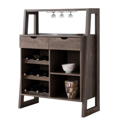 Stylish Brown Wooden 6-Bottles Wine Cabinet with Sled Legs and Spacious Storage