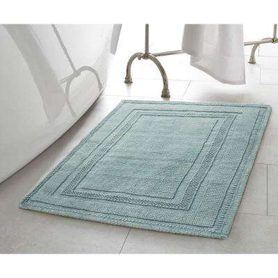 Cotton Stonewash Racetrack 17 in. x 24 in./20 in. x 32 in. 2-Piece Bath Rug Set in Marine Blue