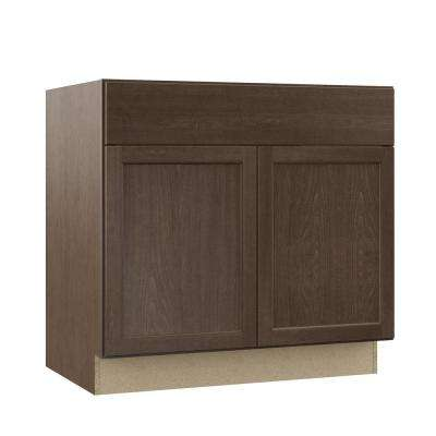 Shaker Assembled 36x34.5x24 in. Sink Base Kitchen Cabinet in Brindle