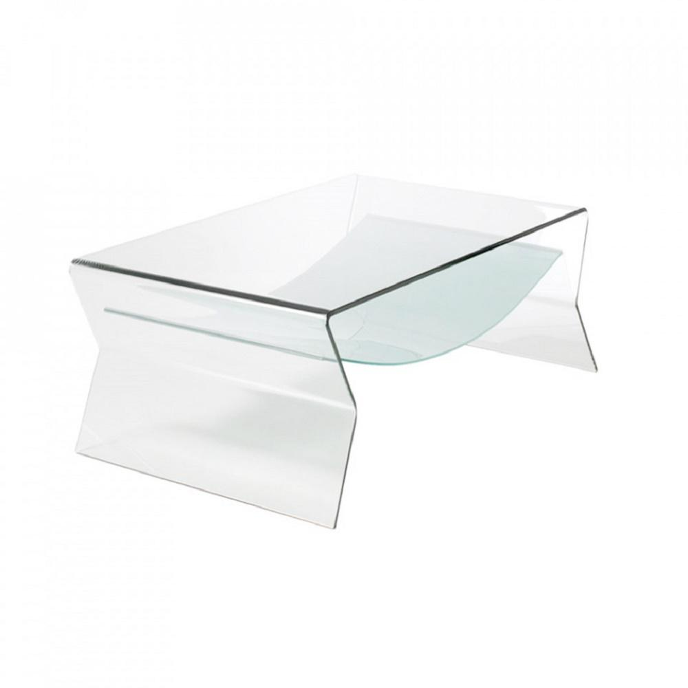 glass side table. Thick Bent Glass Side Table With Shelf