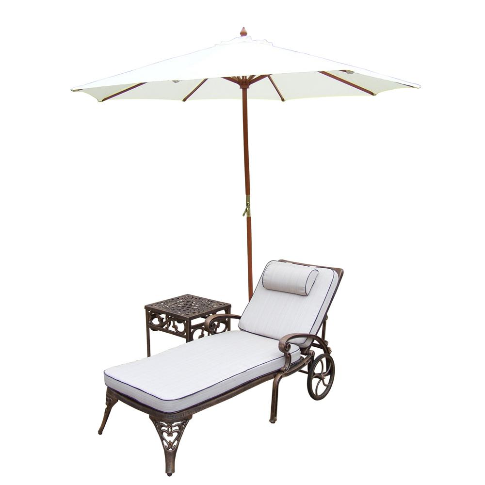 4-Piece Aluminum Patio Chaise Lounge Set with Tan Cushions and White