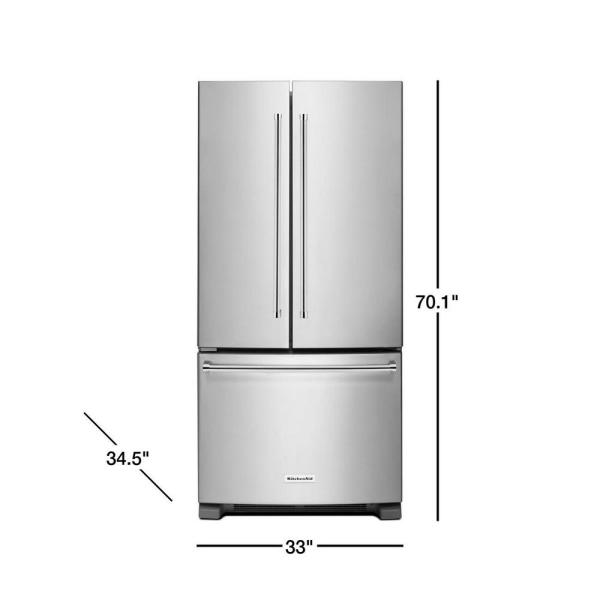 Kitchenaid 22 1 Cu Ft French Door Refrigerator In Stainless Steel With Interior Dispenser Krff302ess The Home Depot