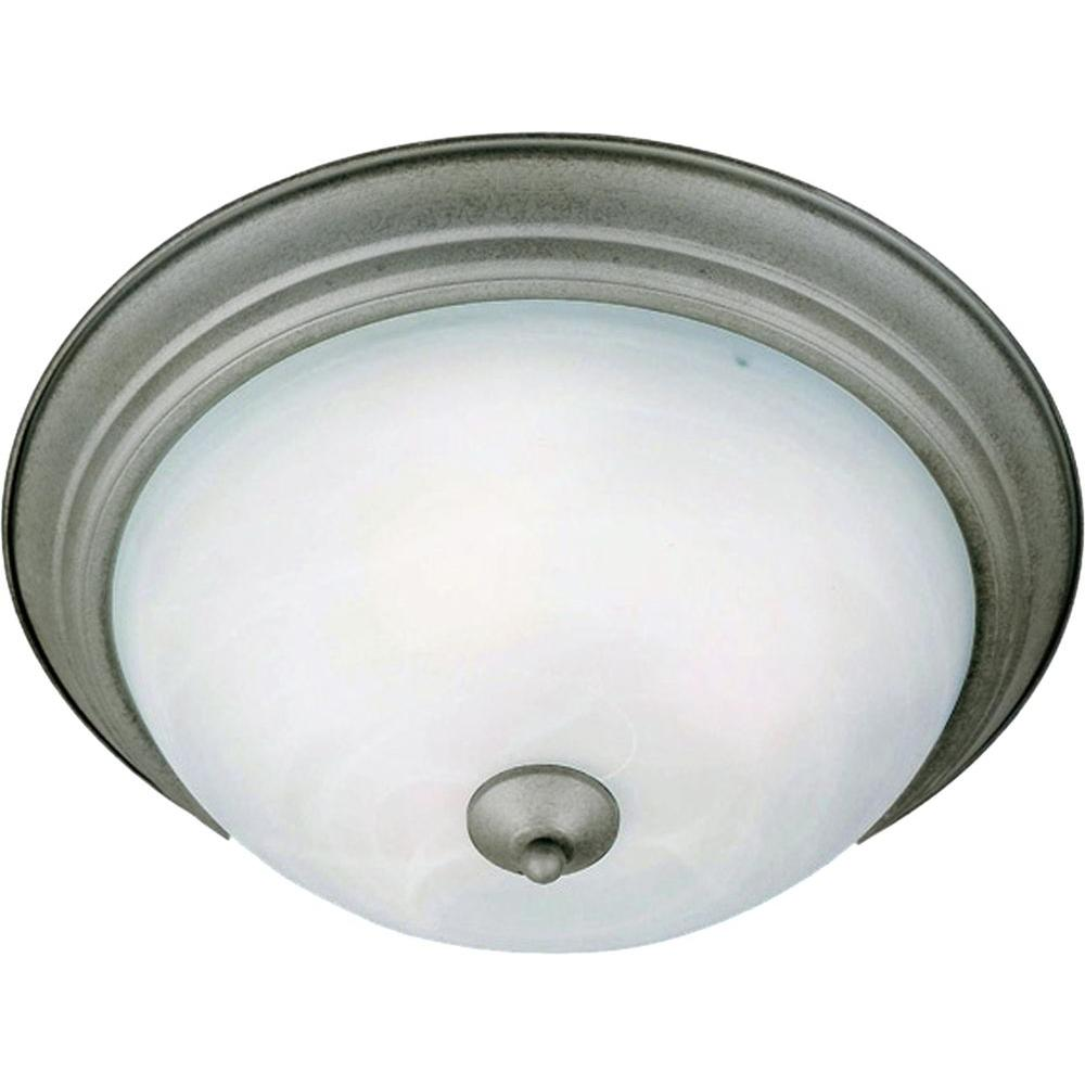 Oriax Infinite 2 Light 6 in. Pewter Flush Mount with Marble Glass Shade