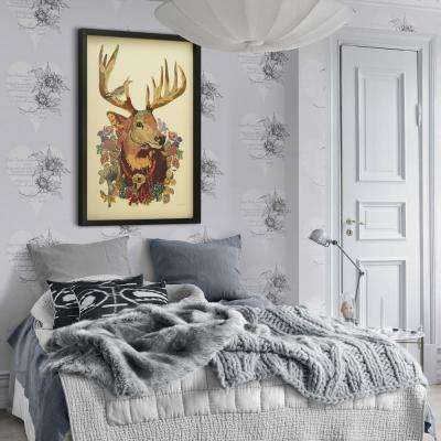 "25 in. x 33 in. ""Mr. Deer"" Dimensional Collage Framed Graphic Art Under Glass Wall Art"