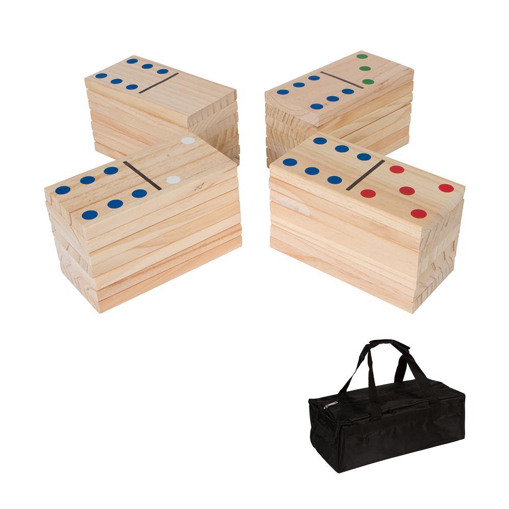 7 in. 28-Piece Giant Wood Dominoes Set Light Wood