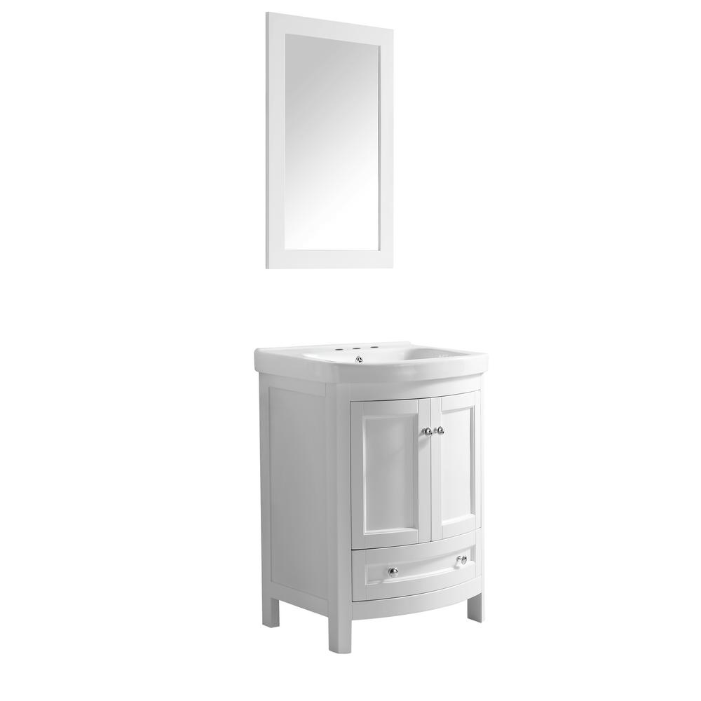 ANZZI Montresor 24 in. W x 34 in. H Bath Vanity in Rich White with Ceramic Vanity Top in White with White Basin and Mirror