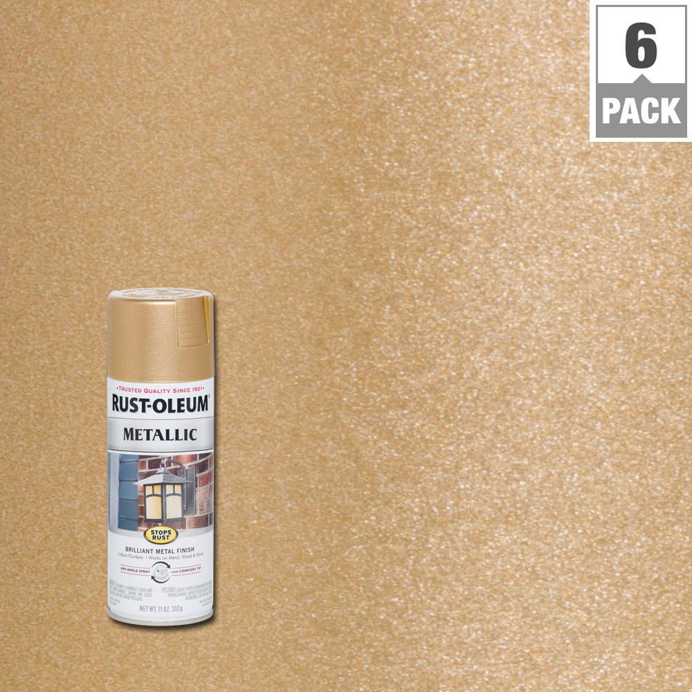 11 oz. Vintage Metallic Warm Gold Protective Enamel Spray Paint (6-Pack)