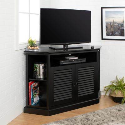 "52"" Transitional Wood Corner TV Stand - Black"