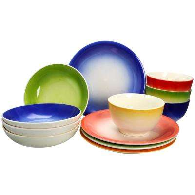 Santillana 12-Piece Assorted Color Dinnerware Set