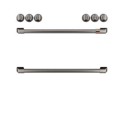 Front Control Gas Range Handle and Knob kit in Brushed Black