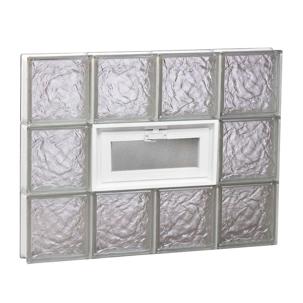 Clearly Secure 31 in. x 23.25 in. x 3.125 in. Ice Pattern Vented Glass Block Window