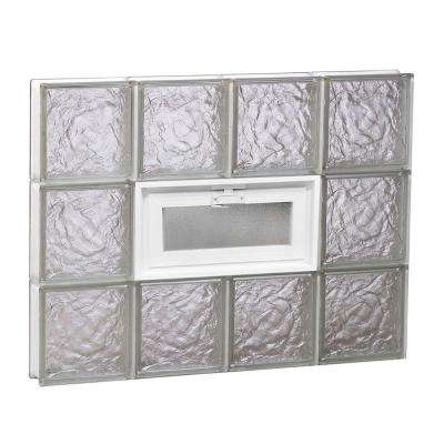 31 in. x 23.25 in. x 3.125 in. Frameless Ice Pattern Vented Glass Block Window