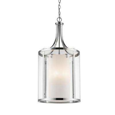 Lara 8-Light Chrome Pendant with Clear and Matte Opal Glass Shade