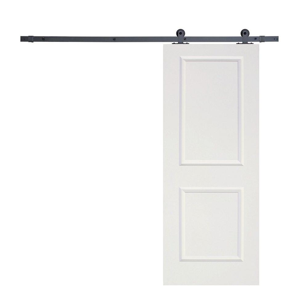 Top Mount Sliding Door Track Hardware and 36 in. White Primed