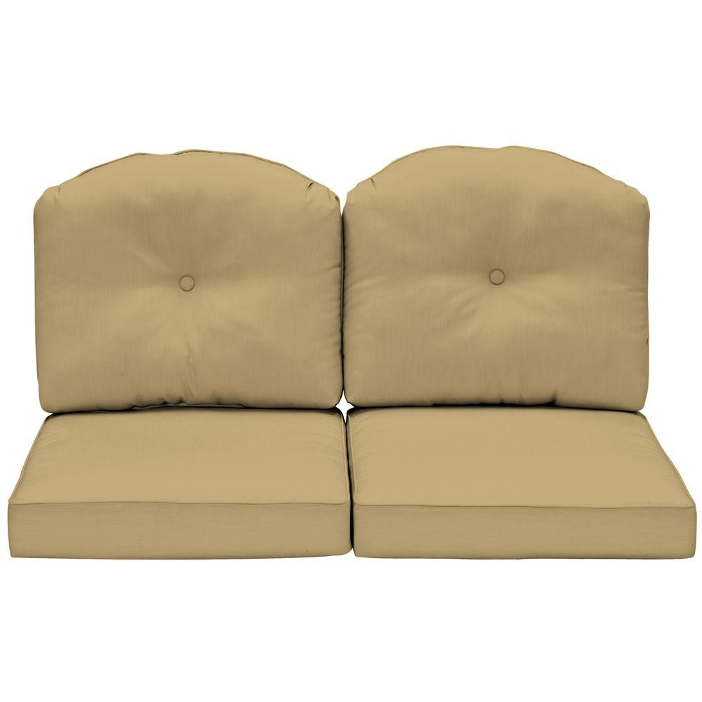 Arden Morgan Classic Canvas Wheat Outdoor Loveseat Cushion-DISCONTINUED