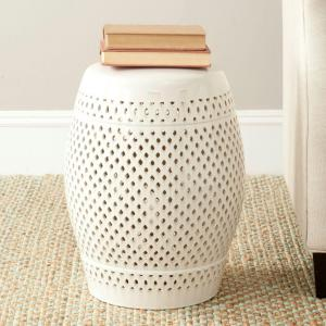 Diamond Cream Ceramic Garden Stool
